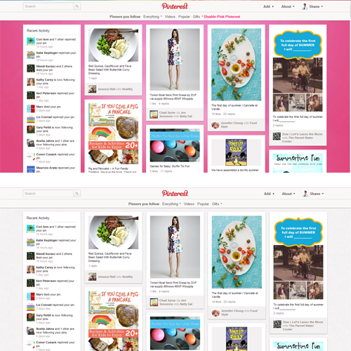 How to turn Pinterest Pink. How to turn Pinterest Pink. White to Pink Pinterest